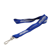 Custom silk screen print blue polyester lanyard with metal J hook