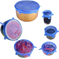 6 Piece Pack Silicone Storage Container Lids Food Grade Silicone Stretch Lids for All Containers