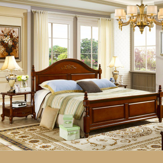 Wood Bedroom Furniture Set with Bed and Dresser Cabinet