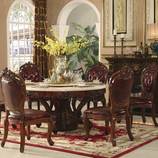 Wood Table with Leather Sofa Chair for Dining Room Furniture