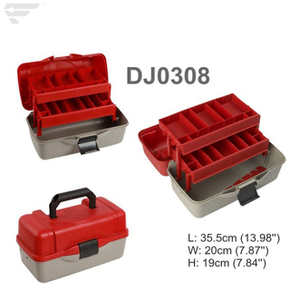 DJ0308 Red Lid and Grey Bottom 2 Tray Assortment Storage Box
