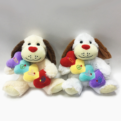 Perfect Valentine Gift Plush Dog With Red Heart