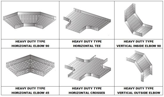Heavy Duty Cable Tray Accessories Hozizontal Tees/Crosses/Vertical Outside Elbows/Inside Elbows