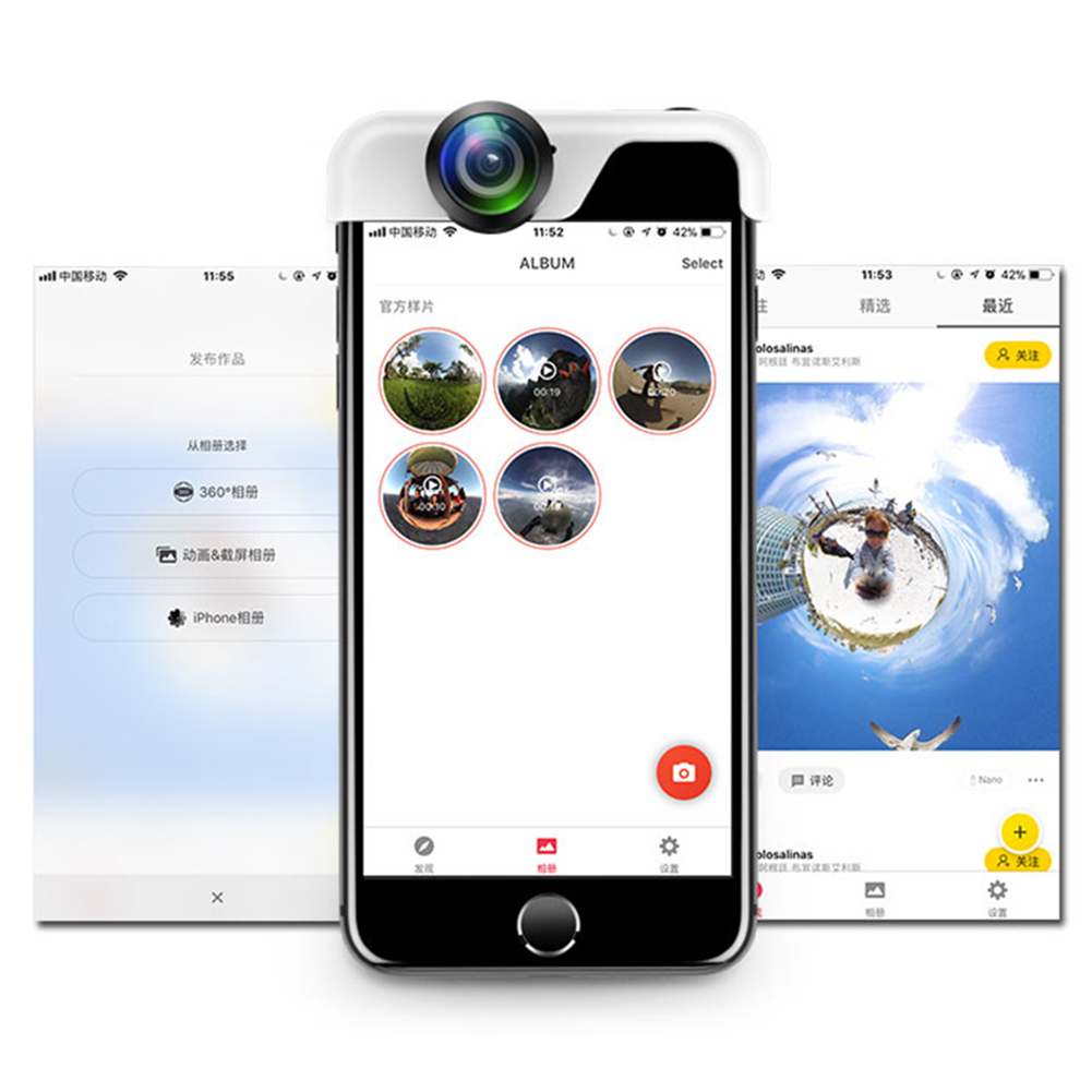 Panoramic Lens 360 Degrees Camera Lens for IPhone X 8 Plus