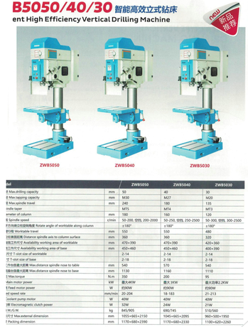 INTELLIGENT HIGH EFFICIENCY VERTICAL DRILLING MACHINE ZWB5030