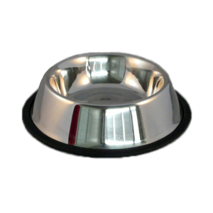 Stainless Steel No Tip Dog Bowl With Rubber Ring Non Skid