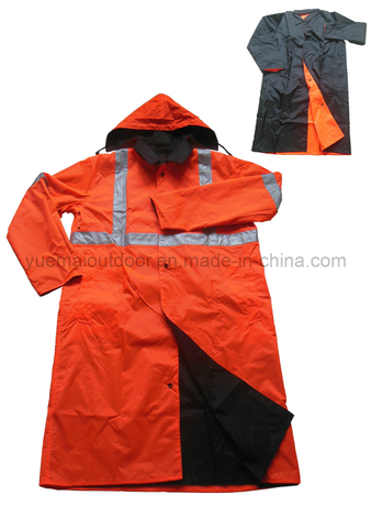High Quality Reversible Raincoat with Reflective Tape