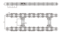 Conveyor chains for road construction machinery