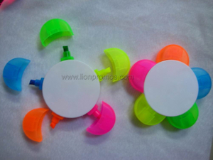 Custom Print Flower Petal Shape 5colors in 1 Highlighter Pen