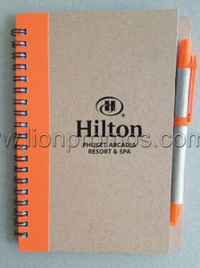 Hilton Hotel Logo Eco Krfat Paper Coil Notebook