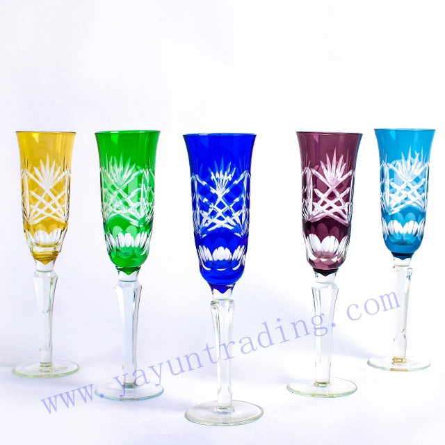 hand cut 6 colored champagne flute glass