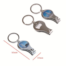 Customized epoxy logo nail clipper cutter bottle opener with keyrings