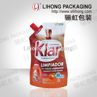 Detergent Standing Pouch With Handle And Spout For Kitchen Use
