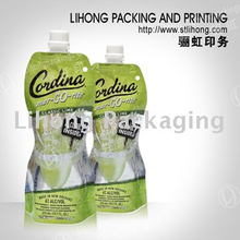 Alcohol Packaging-Stand Up Pouch Customized Shape With Spout