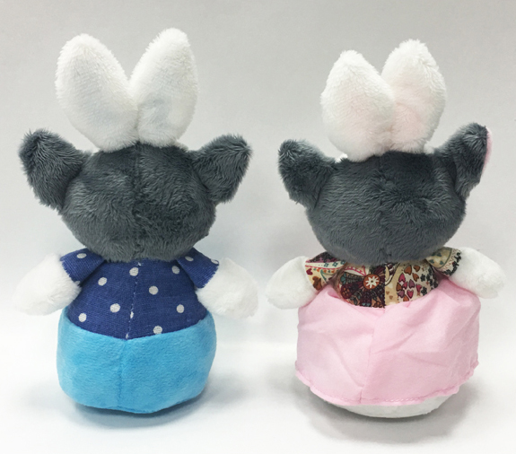 Couple Plush Toy Dogs with Blue Pants And Pink Dress