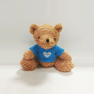 Plush Teddy Bears with Blue Cloth Embroidered Love Toys