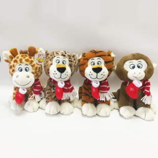 Christmas Series Plush Giraffe Tiger Leopard And Monkey Animal Toys