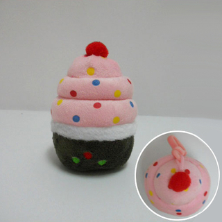 promotional stuffed soft toy plush cup cake keychain toy