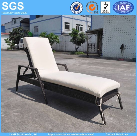 Outdoor Pool Chair Furniture Rattan Lounger with Cushion