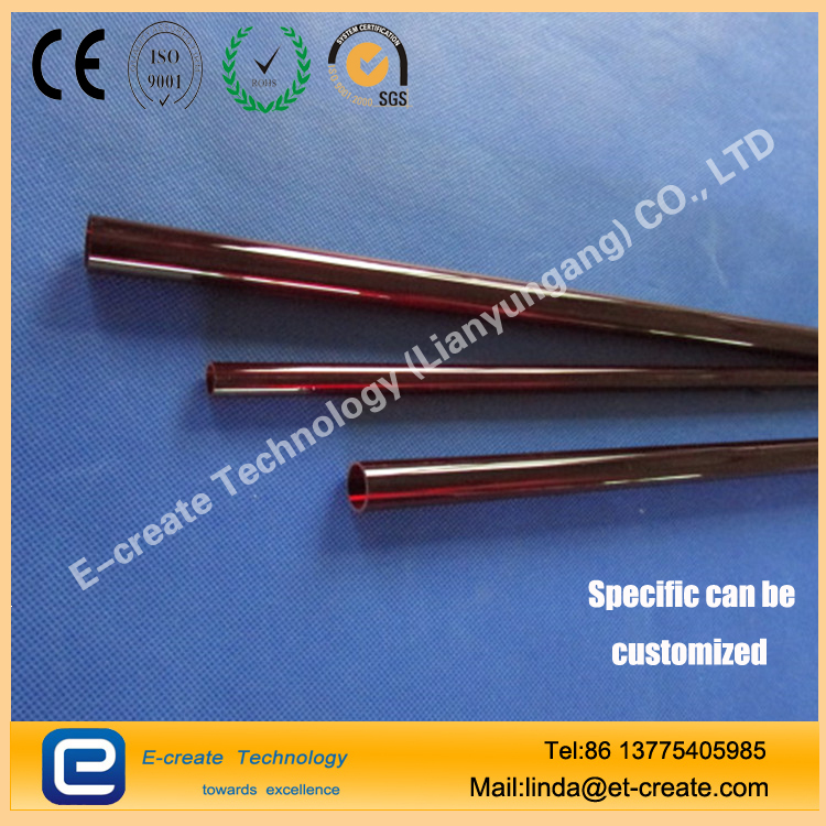 Red Quartz Glass Tube, Red Quartz Tube, Quartz Tube, Ruby Quartz Tube, Black and Red Quartz Tube