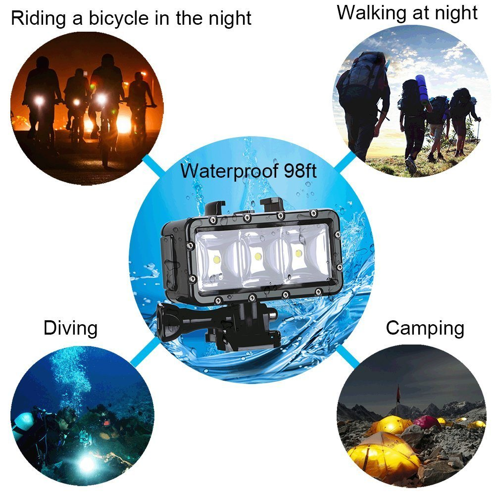Weterproof Diving Underwater LED Light for Sport Camera