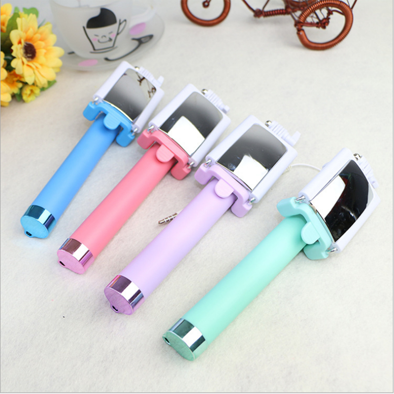 Colorful Wired Selfie Stick Mini Folding Monopod Wired Selfie Stick with Rearview Mirror for Smartphone