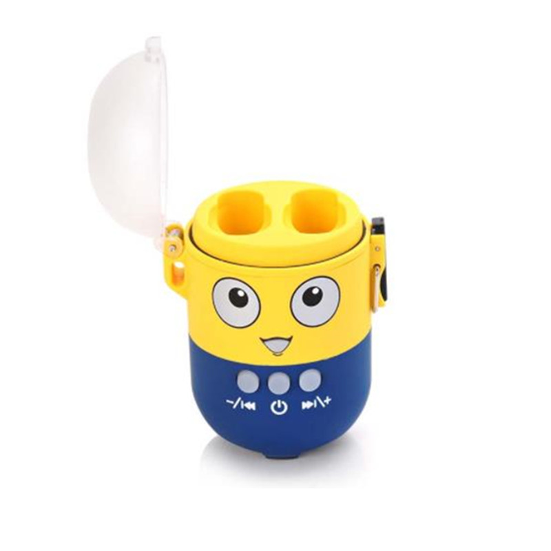 Minions Cartoon Waterproof Bluetooth Speaker Tws Double Ear Wireless Earphone with Charging Box