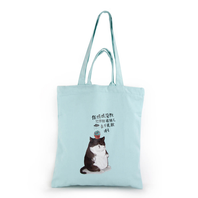 Custom Promotional Sky Blue Cotton Tote Bags with double handles
