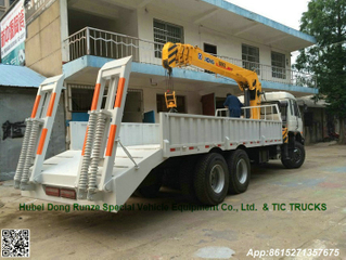 DRZ lorry truck with telescopic boom crane and Hydraulic ladder for loading excavator