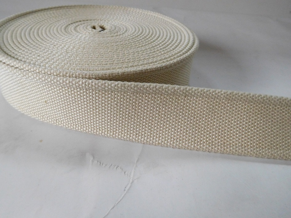38mm white polyester cotton webbing for bags belts