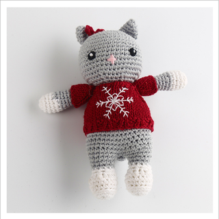 Hand Knitted Christmas cat