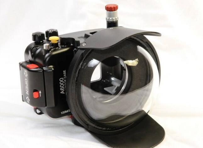 meikon A6000 aluminum housing with the dome port