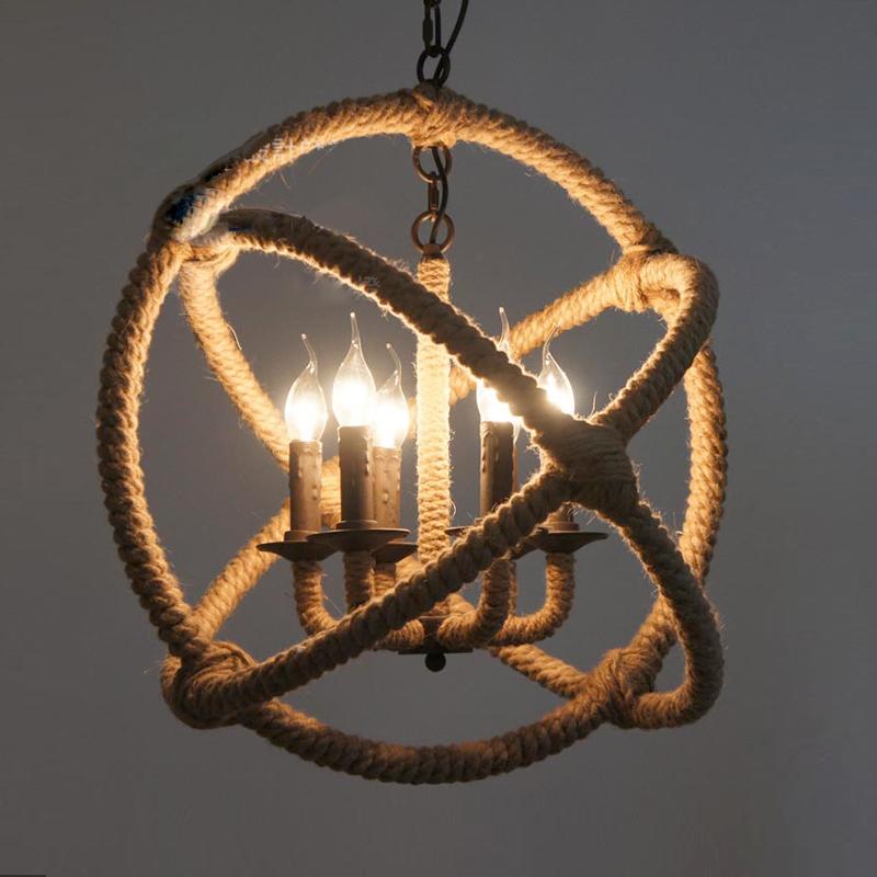Industrial Rope Pendant Light Round Design Light Pendant