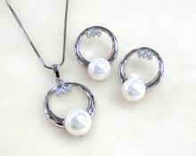 Shell Pearl Pendant and Earrings set