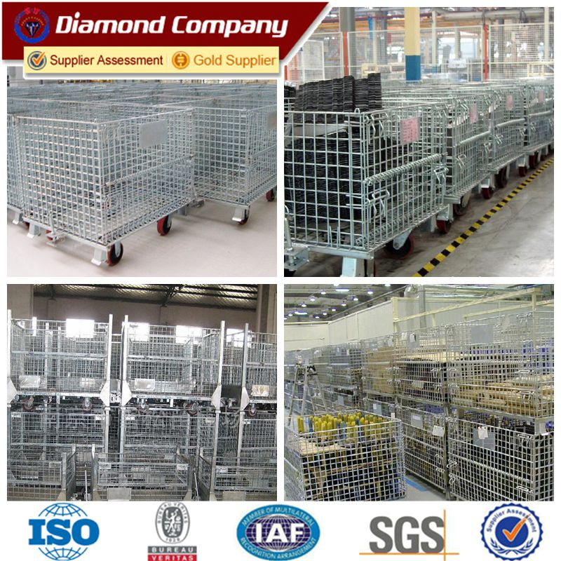 Galvanized welded wire mesh container,warehouse steel storage cage ,Metal storage cage container.equipment metal storage cage