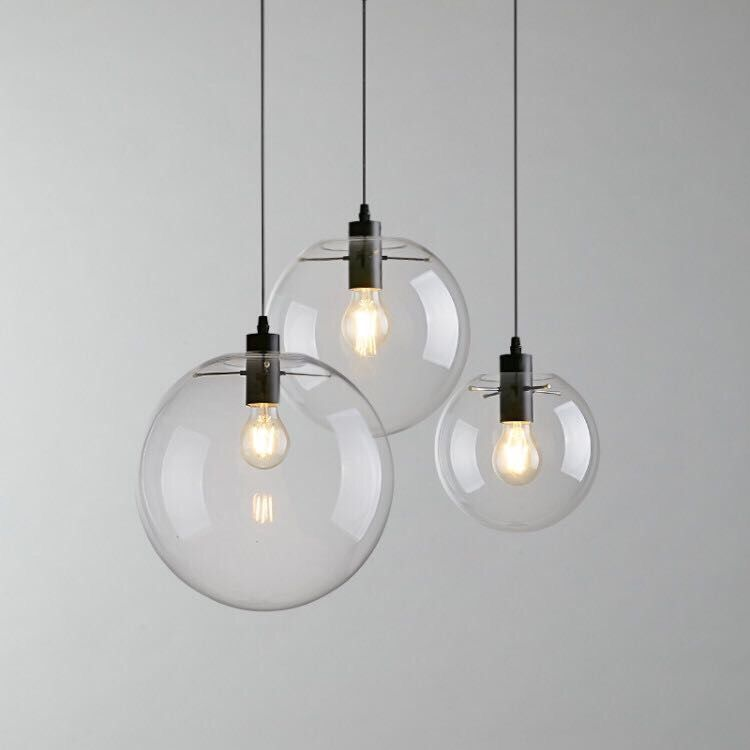 Contemporary Hand Blown Glass Hanging Lamp Round Indoor