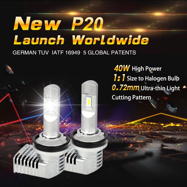 P20 5202 40W 5200lm halogen bulb size car led headlight 13
