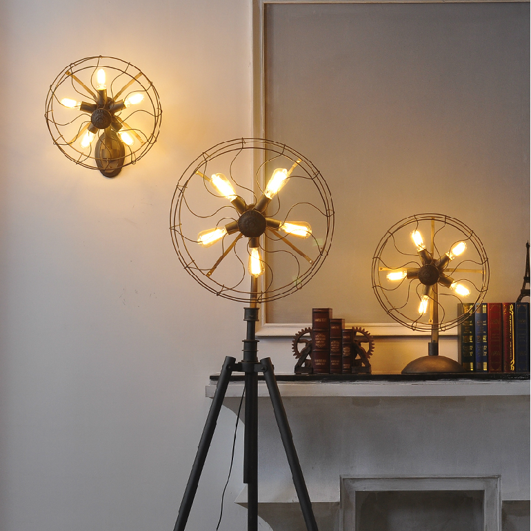 Industrial vintage rustic loft style fan shape floor lamp for Antique floor lamp manufacturers