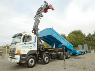 HINO 700 FY Tipper truck with loader crane and lowboy trailer