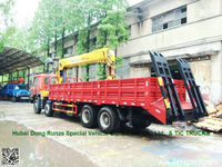 DRZ 8x4 lorry truck with 12T telescopic boom crane and Hydraulic ladder for loading excavator