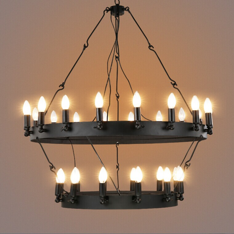 Industrial Vintage Round Shaped Pendant Light Black Hanging Wire Chandelier From China