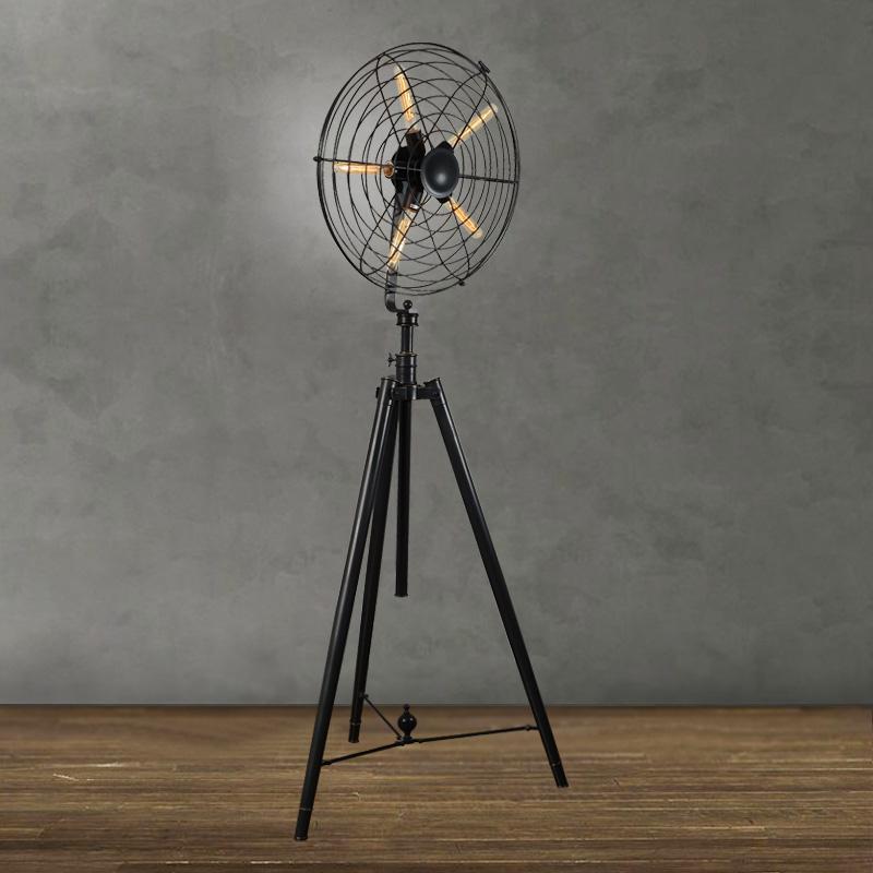 Industrial vintage rustic loft style fan shape floor lamp from ...