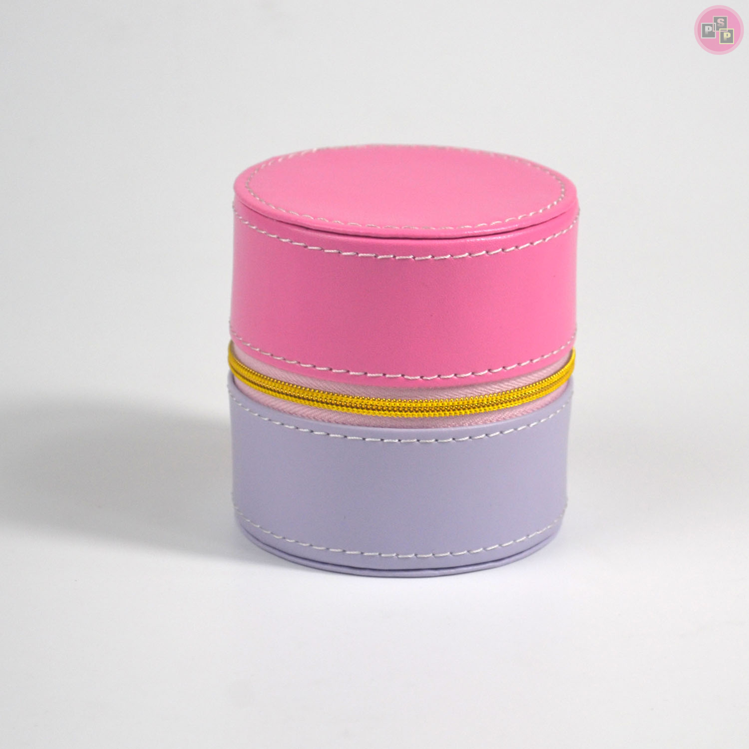 Pink Package Grey Leather Round Zipper Small Jewelry Box