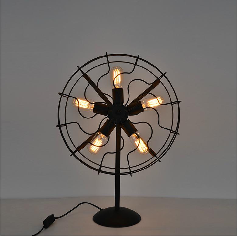 Cool industrial retro style fan shape bedside table lamp for Cool bedside table lamps