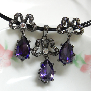 Amethyst and Clear CZ Pendant and Earrings Set