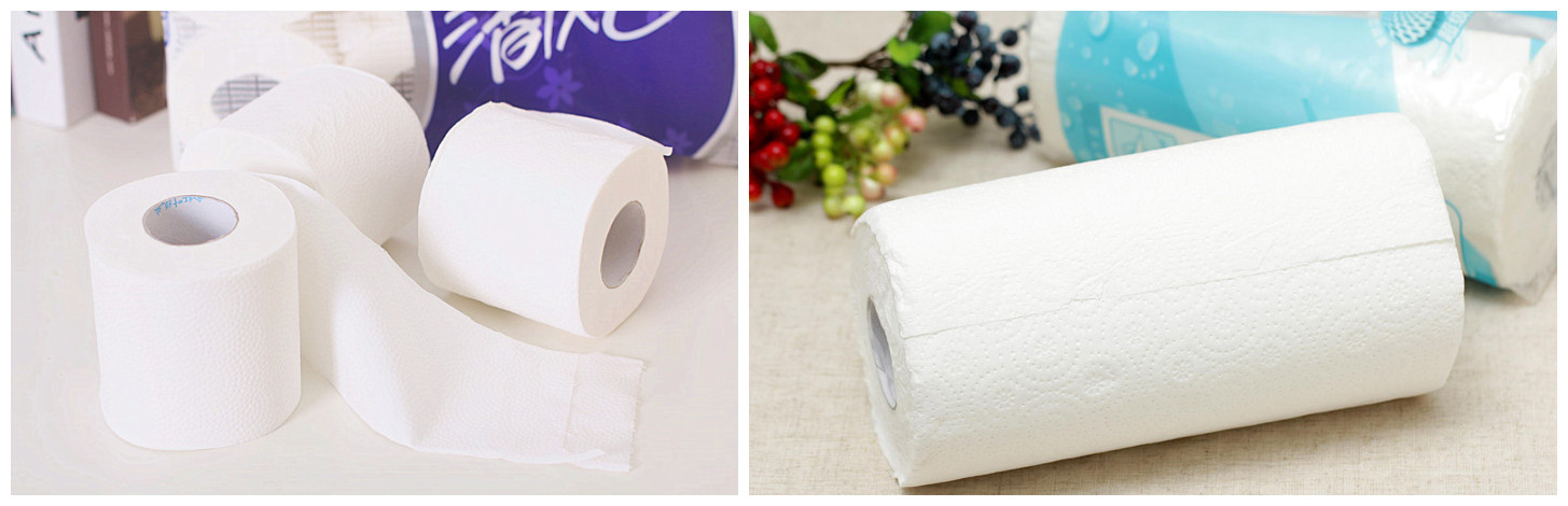 finished toilet paper and kitchen paper rolls