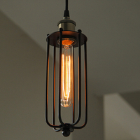 Rustic Cage Pendant Light for Cafe Shop Retro Lighting