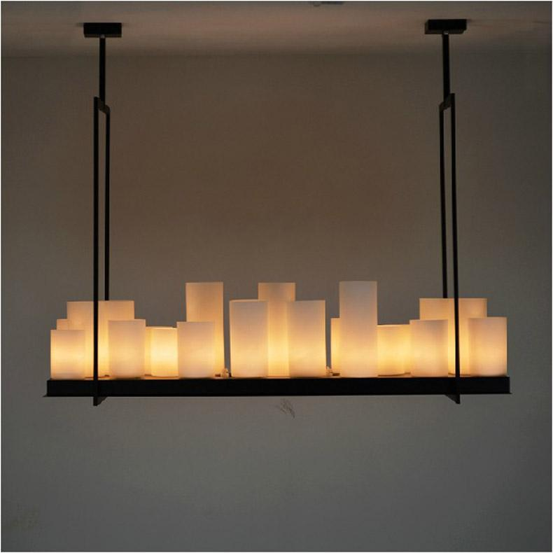 european style rectangle modern candle decorative modern chandelier iron white glass candle chandelier - Candle Chandelier