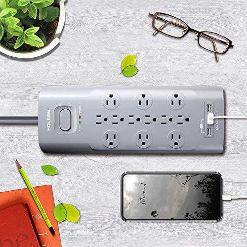 Surge Protector 12 Outlets 3 USB Ports Grey