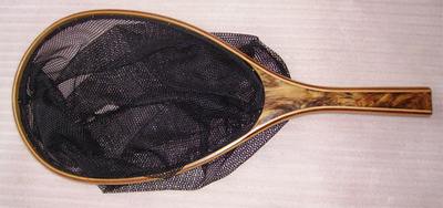 burled wood handle landing net